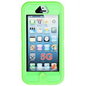 Silicone Protective Splash Proof Plastic Case Cover for iPhone 5 (Green)