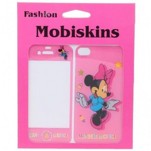 Stylish Cartoon Minnie Mouse Style Case Skin Cover Stickers for iPhone 4 - Pink