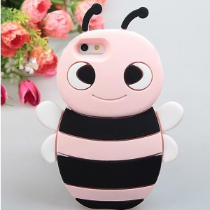 Cute Little Bee Design Silicone Flexible Case Cover for iPhone 5 (Pink with Black)