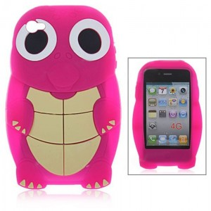 Lovely Cartoon Tortoise Shape Silicone Case for iPhone 4 4S (Rose)