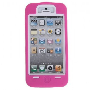 Fashion Design 2 in 1 Detachable Plastic and Silicone Hybrid Case Cover for iPhone 5 (Rose)