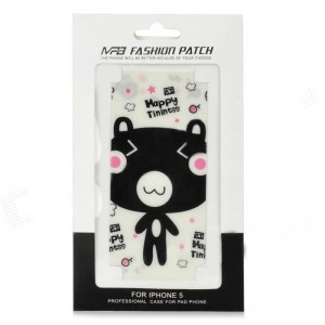 Protective Cartoon Bear Mushroom Style Front + Back Skin Sticker for iPhone 5 - Pink + White + Black