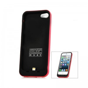 External 2000mAh Emergency Power Battery Charger Back Case for iPhone 5 Red + Black