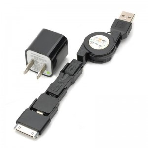 Retractable USB Male to 8 Pin Lightning + 30 Pin + Micro / Mini USB Data Cable w/ AC Adapter - Black