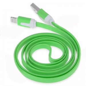 1M Noodle Shape 8-Pin Lightning Port Cable USB Sync Data/ Charging Cable for iPhone5/ iPad Mini/ iPad 4 Green