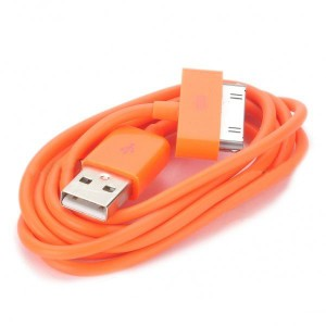 USB Data/Charging Cable for iPad/iPhone/iPod - Orange (90cm-Length)