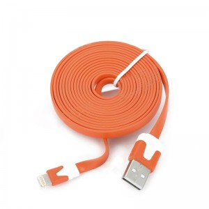 Lightning 8-Pin Male to USB Male Data Charging Flat Cable for iPhone 5 / iPad Mini - Orange (4m)