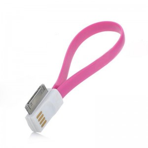 USB to 30-Pin Charging / Data Magnetic Cable for iPhone 4 / 4S / 3GS - Deep Pink (22.4cm)