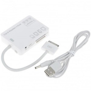 Multi-Card Reader + 3-Port USB Hub for iPad (White)