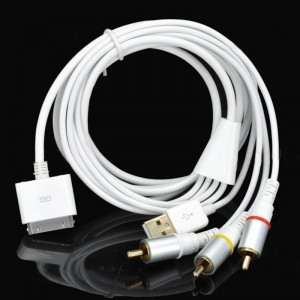 Compact USB Data Charging + AV Cable for iPhone 4S/iPad 2/iPad (144CM-Length)