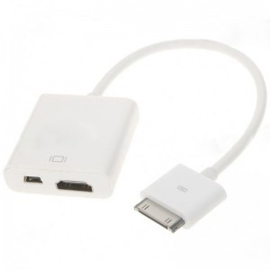 Dock Connector Male to HDMI + Mini USB Female Adapter for iPad (24.5-Length)