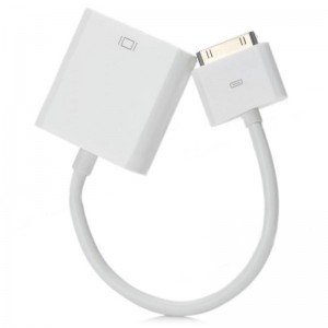 CY IP-004 30-Pin Male to VGA Female Adapter Cable for iPad / iPad 2 / iPhone 4 - White