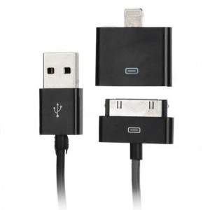 USB Male to 30pin Male Charging & Data Sync Cable + 30pin Female to 8pin Lightning Adapter