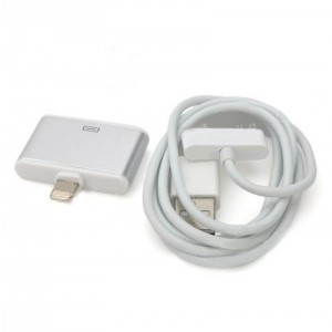 2-in-1 Apple 30Pin to 8Pin Adapter + USB Data Cable for iPhone 5 / iPad 4 / iPad Mini - Silver