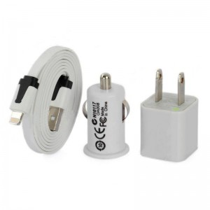 AC/Car Powered Charging Adapter Charger + 8-Pin Lightning Flat Cable for iPhone 5 - White (3 PCS)