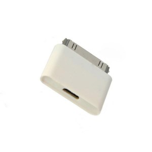 Micro USB Female to Apple 30 Pin Male Charging Adapter for iPhone 4 + iPad 2 + More - White