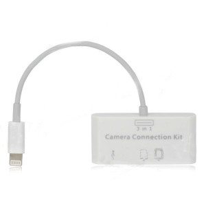 8-Pin Lightning TF / SDHC / USB Flash Drive Memory Card Reader for iPad 4 / iPad Mini - White