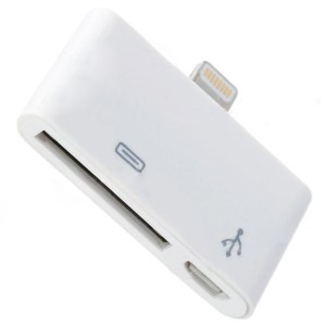 Apple 30Pin Micro USB Female to Apple 8Pin Male Data & Charging Adapter - White