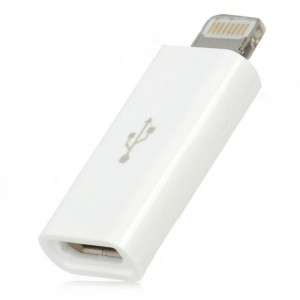 Micro USB 5-Pin Female to 8-Pin Lightning Male Adapter for iPhone 5 / iPad Mini / iPad 4 - White