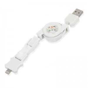Retractable USB to 8-Pin Lightning + Mini USB + Micro USB Male to Male Data/Charging Cable - White