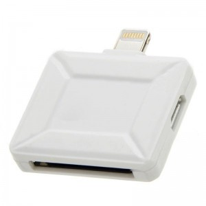 Micro USB Female / 30-Pin Female to Lightning 8-Pin Male Adapter for iPhone 5 / iPad 4 - White