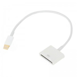 Gold Plated Apple 30pin Female to 8pin Lighting Male Cable - White (22cm)