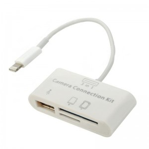 3-in-1 TF / SD Card Reader Connection Kit w/ USB / 8-Pin Lightning Port for iPad Mini / 4 - White