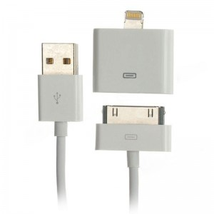 USB to 30pin Adapter Cable + 30pin to 8pin Lightning Adapter - White