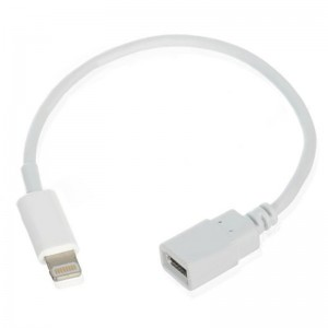 Lightning 8-Pin Male to Micro USB Female Adapter Cable for iPhone 5 - White (14cm)