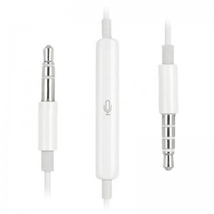 3.5mm TRRS Remote Cable w/ Microphone for iPhone / iPad - White (100cm)