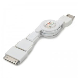 3-in-1 Retractable USB to 8-pin Lightning + 30-pin + Micro USB Data / Charging Cable - White (70cm)