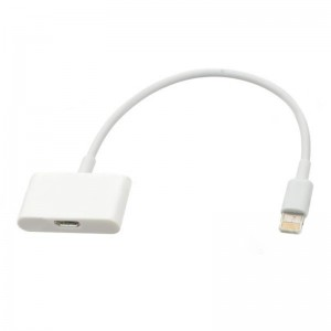 Micro USB Female to 8-Pin Lightning Male Adapter Cable for iPhone 5 / iPad Mini / iPad 4 - White