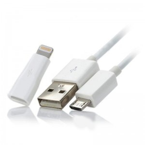Micro USB Data & Charging Cable w/ Micro USB Female to 8 Pin Lightning Male Adapter - White