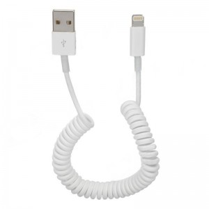 USB Sync Data / Charging 8-Pin Lightning Coiled Cable for iPhone 5 - White