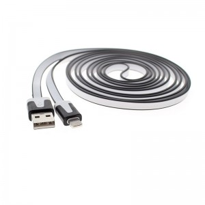 Flat Lightning Male to USB Male Data Sync / Charging Cable for Apple iDevices (200cm)