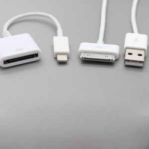 30-Pin Female to Lightning 8-Pin Male Adapter Cable + USB 30-Pin Data/Charging Cable for iPhone (94cm)