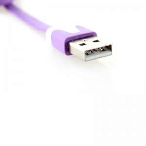 Flat USB Data/Charging Cable for iPhone iPod - Purple (300cm)