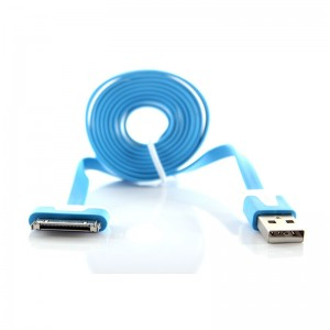 Flat USB Data/Charging Cable for iPhone iPad - Blue (100cm)