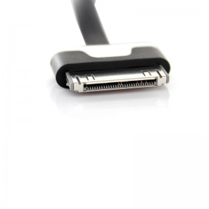 Flat USB Data/Charging Cable for iPhone iPad - Black (100cm)