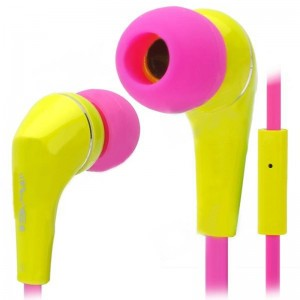 Awei Q7i Stylish In-Ear Earphone with Microphone for iPhone / iPad + More - Yellow + Deep Pink