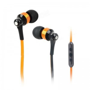 AWEI S50VI Flat Cable In-Ear Earphone w/ Microphone for iPhone 4 / 4S / 5 / iPad - Golden + Black