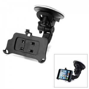 360 Degree Rotatable Car Mount Holder w/ Suction Cup for iPhone 5 - Black