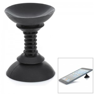Suction Cup Style Silicone Stand Cable Organizer for iPhone + iPad - Black