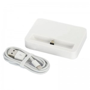 Sync and Charging Docking Station w/ USB Cable for iPhone 5 - White (100cm-Cable)