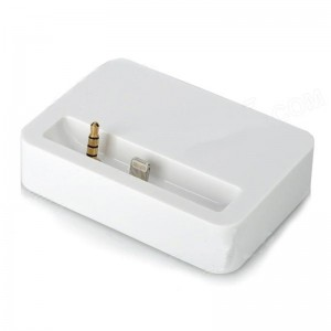30-Pin to Lightning 8-Pin Data Sync / Charger Adapter Dock Station + 3.5mm Jack for iPhone 5 - White