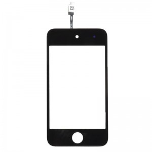 Replacement PVC + Glass Touch Screen for iPod Touch 4 - Black + Transparent