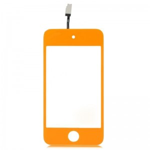 Replacement PVC + Glass Touch Screen for iPod Touch 4 - Orange + Transparent