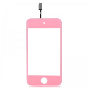 Replacement PVC + Glass Touch Screen for iPod Touch 4 - Pink + Transparent
