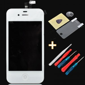 """Replacement 3.5"""" Touch Screen Digitizer LCD w/ Maintenance Tool + Protector for iPhone 4S - White"""