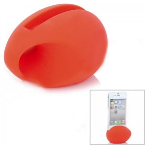 Egg Style Silicone Loudspeaker / Holder for iPhone 4 / 4S - Red